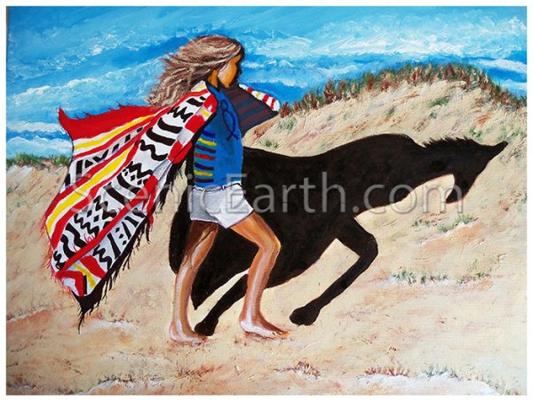 The Shadow Walker of Nags Head - A painting of a young blonde haired girl walking along the sand dunes of Nags Head seeing her shadow as a horse reflecting her dreams of her best friend, a Nag named Shadow